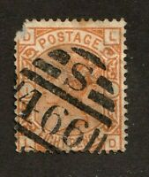 Great Britain stamp #73,used, plate 1, corner damage,  Queen Victoria, SCV $350
