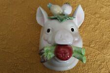 Rare! Fitz & Floyd Ceramic Pig French Country Market Wall Pocket