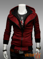 Mens Slim Casual Zipper Hoodies Hooded Top Jumper Jacket Sweatshirt Coat Outwear