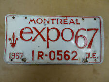 1967 QUEBEC EXPO LICENSE PLATE TAG NUMBER N 29692 VINTAGE PQ MONTREAL 1R-0562