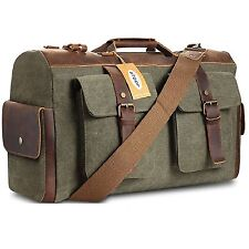 Weekender Overnight bag Canvas Genuine Leather Travel Duffel Bags for Men and
