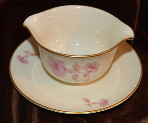 Rare Pink Flower Furstenberg Germany Fine China Gravy Boat Dish 01537