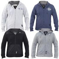 Mens Jumper Crosshatch Printed Hoodie Fur Hood Zip Sweatshirt Tops Size S-2xl UK