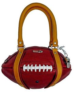 NEW Red24 Maroon/Gold Leather FOOTBALL PURSE Hand Bag Gophers NCAA Cardinals NFL