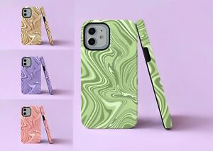 Abstract Swirls Groovy Waves 2 in 1 Hybrid Tough Phone Case/Cover For iPhone
