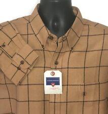 Saddlebred Flannel Shirt XL Windowpane Plaid Checked Tan Black Long Sleeve New