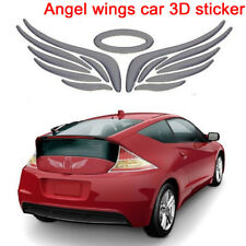 Chrome silver halo and angel wings car badge 3D logo decal self adhesive sticker