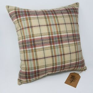 Brown cream Check Cushion Cover quality Wool mix fabric handmade all sizes