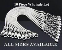 10 Pc Lot/Set Sterling Silver Snake Link Chain Women's Bracelet Bangle D403