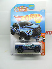 FORD F 150 RAPTOR PICK UP TRUCK IN BLUE 2017 HOT WHEELS MINT ON CARD