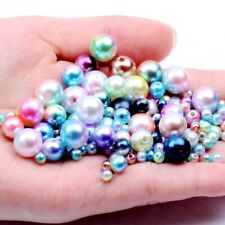Resin Imitation Pearls Straight Hole Round Spacer Beads Rainbow color Decoration