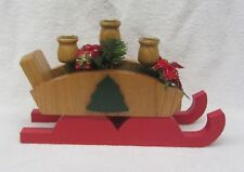 Wooden Christmas Sleigh with three Spindle Candle Holders Wood Decoration
