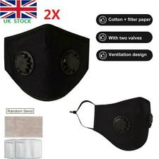 2PCS Reusable Mask With 2 Breathing Valves Face Mask +Activated Carbon Filters