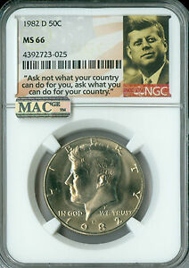 1982-D KENNEDY LOGO HALF DOLLAR NGC MAC MS66 PQ 2ND FINEST REGISTRY SPOTLESS *
