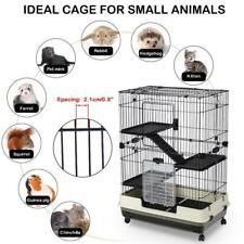 43 Inch Collapsible Metal Cat Kitten Ferret Cage Pet Playpen with Ramp Ladders