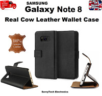 Luxury Real Leather Slim Flip Case Wallet Cover Stand for Samsung Galaxy Note 8