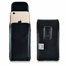 Turtleback Apple iPhone 6S Leather Vertical Phone Holster Pouch Case, Black Clip