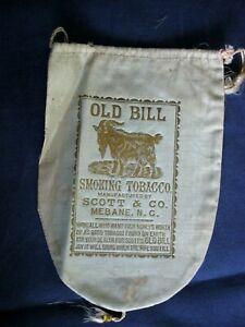 Old Bill Smoking Tobacco Bag GOLD Letters & GOAT Scott Co. Mebane NC fabric C5