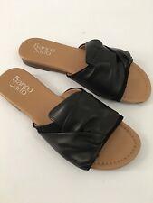 Franco Sarto Women's Black Leather Slides Sandal Shoes Size 7.5 M  NIB