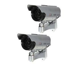 2X Solar Power Fake Dummy Security CCTV Camera Waterproof Surveillance Silver JQ