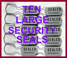 SECURITY SEALS, DISCOUNTED, PADLOCK-STYLE, TEN SEALS, LARGE-SHACKLE, GRAY, NEW