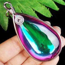 Wrapped Multicolor Purple Green Titanium Crystal Teardrop Pendant Bead S87589