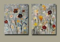 "2 Acrylic Abstract flower paintings On Canvas by Hunoz. 16"" x 20"" each"