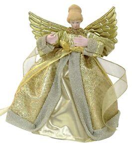 Noël Arbre Dessus Fairy Ange Décoration Haut de Sapin Ornements Doré Robe