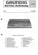 Grundig Service Manual für PS 6000