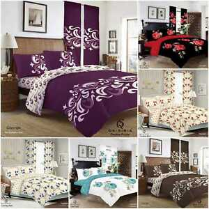 Complete Duvet Set Quilt Cover Fitted Sheet Pillow Cases or Matching Curtains