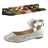 Women Classic Ballerina Ballet Flats Elastic Crossing Strap Mary Jane Flat Shoes