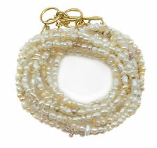 Seed Pearl Necklace - Wrap Bracelet 14k Gold F Three Strand Adjustable 7 8 22 In
