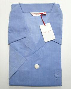 DEREK ROSE MENS SHORT PYJAMAS - XL - 100% COTTON PJ - RRP. £125 AMALFI BLUE