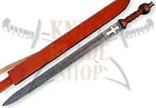 Damascus Sword,Custom Handmade ROMAN GLADIUS SWORD ROSE WOOD HANDLE