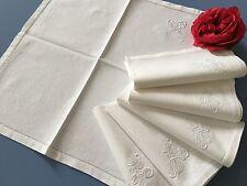 6 serviettes de table Coton granité Jours et Broderies Excellent état 1376/106-2