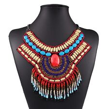 Ethnic Resin Beads Collar Metal Geometric Chunky Choker Necklace Hot Sell