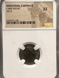c.400-350 BC ZEUGITANA, CARTHAGE AE16 NGC XF
