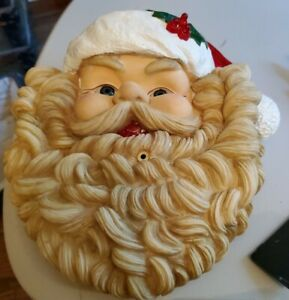 """Vintage Musical Lights Santa Claus Face 10"""" Telco 1995 MotionActivated"""