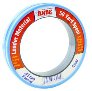 Ande Fishing Line FCW50-40 Clear Fluorocarbon Monofilament Leader 50 Yards 40 lb