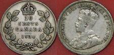 Fine 1934 Canada Silver 10 Cents