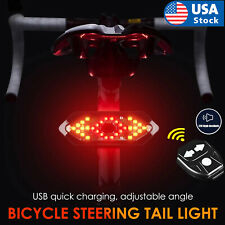 US Bicycle Tail Light USB Smart Wireless Remote Control Turn Signal Warning Lamp