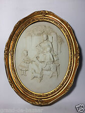 VINTAGE GOLD FRAMED MARBLE CHERUBS PICTURE / PLAQUE - Family/Animals Figures