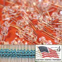 100x Red 5mm Flat Top LEDs Wide Angle Light 12v Resistor Kit USA