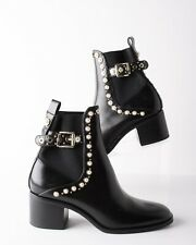 Zara Womens Black Mid Heel Leather Ankle Boots Faux Pearls EU 39 US 8.5 NWOT