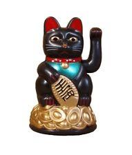 Glückskatze SCHWARZ 11cm Maneki Neko Winkekatze Glücksbringer Feng Shui Katze