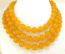 Long 52inch Natural 10MM yellow jasper gemstone round beads necklace