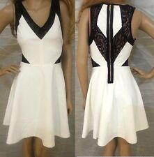NWT bebe black white lace combo side cutout flare v neck sexy top dress S small