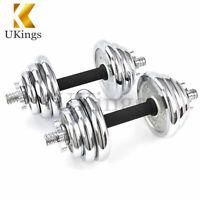 Adjustable Dumbbells Set 22 Lbs Circular Cast Gym Strength Weight Training 10kg