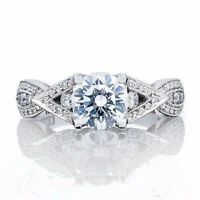 """BRAND NEW Tacori """"Ribbon Collection"""" 2647RD7.5W 18K White Gold Engagement Ring"""