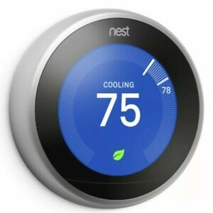 Google Nest T3007ES  3rd Generation Stainless Steel Learning Thermostat